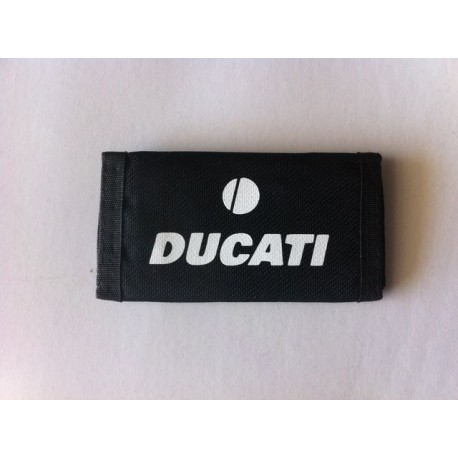 Llavero tela cierre velcro en negro y logo Ducati blanca
