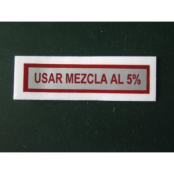 Adhesivo usar mezcla 5 %