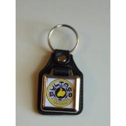 Llavero simil piel cuadrado Bultaco amarillo