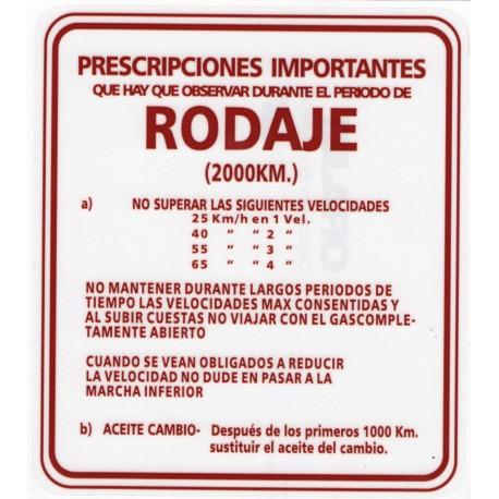 Adhesivo rodaje rojo 13 x 14,8