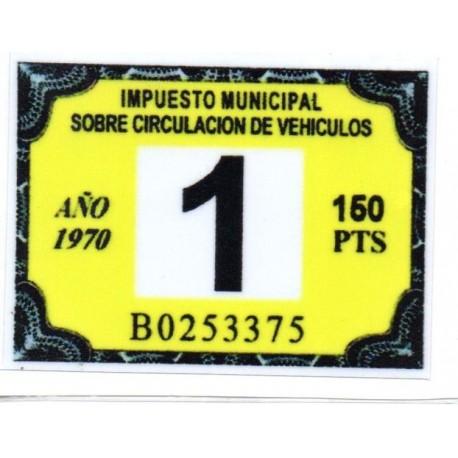 Adhesivo impuesto municipal de circulacion 1970
