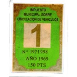 Adhesivo impuesto municipal de circulacion 1969