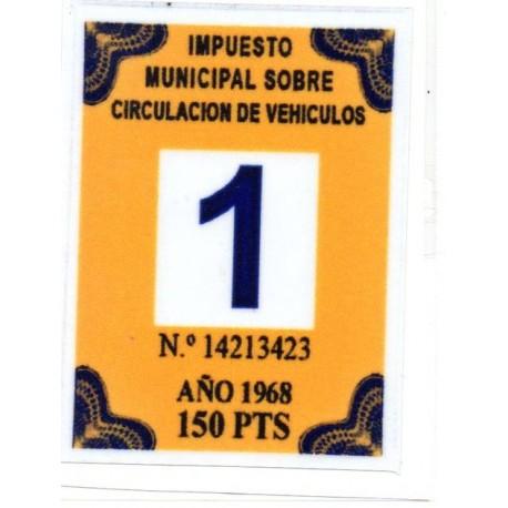 Adhesivo impuesto municipal de circulacion 1968