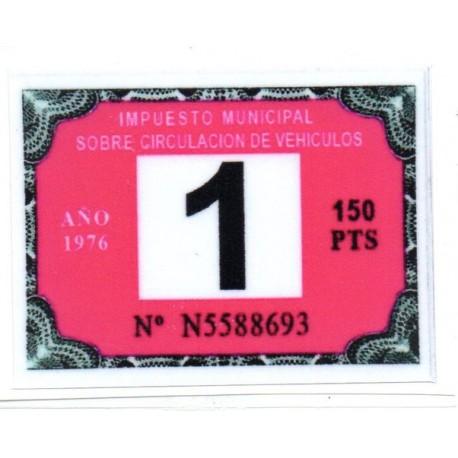 Adhesivo impuesto municipal de circulacion 1976
