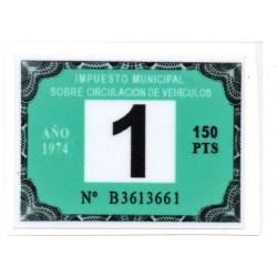 Adhesivo impuesto municipal de circulacion 1974