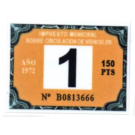Adhesivo impuesto municipal de circulacion 1972