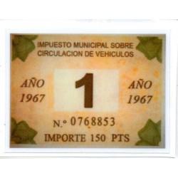 Adhesivo impuesto municipal de circulacion 1967