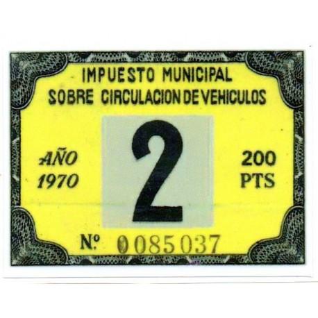 Adhesivo impuesto municipal de circulacion 1970 con sidecar