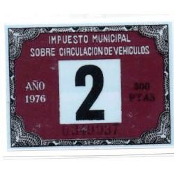 Adhesivo impuesto municipal de circulacion 1976 con sidecar