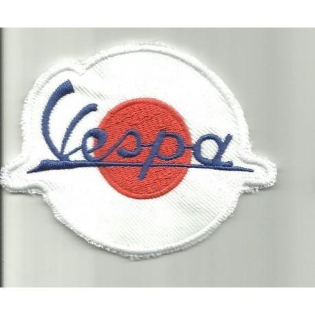 Parche bordado vespa blanco circulo rojo